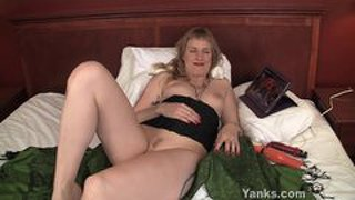 Blonde girl masturbating while watching porn