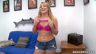 Kaylee evans is another wannabe pornstar with lovely body. blonde haired chick with juicy bubble ass strips down to her pink lingerie and shows off her assets. she exposes her booty on the couch!