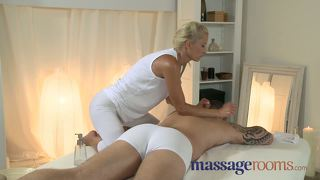 Massage rooms horny young blonde takes a fat cock