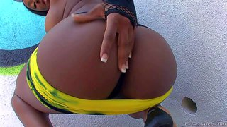 Persia b is a black bombshell with perfect big bottom. she shows off her lovely booty before she pulls down her thong panties. big butt honey makes no secret of her juicy pussy.
