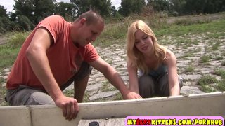 Small teenage pussy fucked outdoors