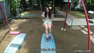 Saki kozakura gets picked up at the kiddie park and taken home to blow
