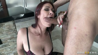 His huge throbbing cock barely fits in her mouth, so he makes it fit and takes control of her head
