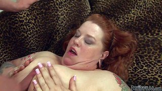 Fat tattooed redhead bailey belle gets her enormous natural tits fucked by hard dick of her slim fuck buddy. then she takes his dick in her mouth. thick breasty slut gives mouth job and rubs her snatch at the same time.