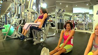 Dahlia sin, vanessa leon and yasmine gold practicing sports in the men's gym