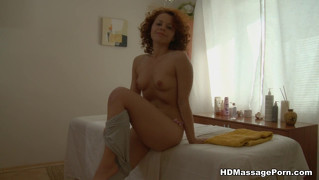Curly ginger fucked in big ass after massage
