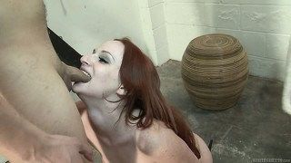 Pale redhead gets rough with her teeth in a hardcore pov blowjob
