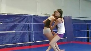 Pretty teen brunettes fighting