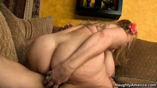Chunky blonde samantha with huge tits rides and gets spooned