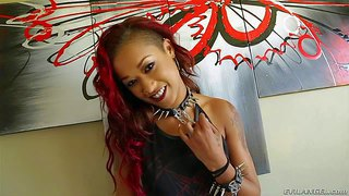 Skin diamond is s red-haired ebony chcik with sexy long legs and round ass. she poses in short black dress and shows all her tattoos in a flirtatious manner. watch and enjoy!
