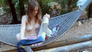 Hot russian teen bitch gloria fucking teases her guy deep in the woods!