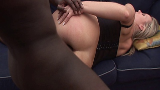 Blonde babe takes her first black monster cock up the ass!