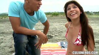 Teen latinas babe claudia walks around to find a gigantic cock