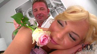 Cute blonde angie koks from russia pulls her black thong panties aside and gets her sweet asshole licked and fingered by curious guy from behind on the bed, watch him play with her nice butt.
