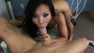 Dainty asian bimbo gets to ride and feast on a fat white cock