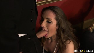 Sexy brunette flapper flaps her jaws sucking a stiff boner then gets a lickin'