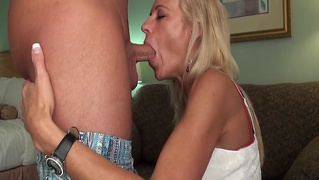 Milf blows me and my friend