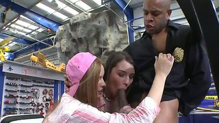 Two teen bitches like to have hardcore sex fun with ebony security man in the supermarket