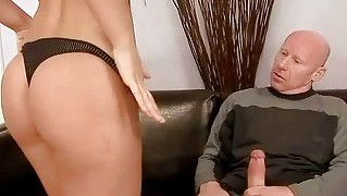 Old guy fucking and pissing on young beauty