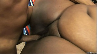 The horny ebony babe gets fucked like she desires and relishes every moment of it