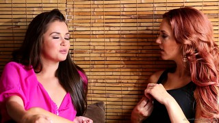 Allie haze meets up with a lesbian and then chat, kiss, and undress