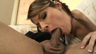 Horny and sexy this tranny whore gets a mouthful of rough slong
