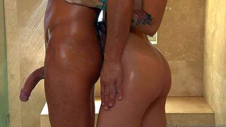 Exotic petite blonde beauty stevie shae with natural boobs and arousing tattoos pleasures her handsome tall lover alex gonz under shower and gets her shaved wet pussy boned from behind