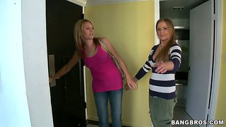Mercedes lynn in a lesbian threesome in the kitchen