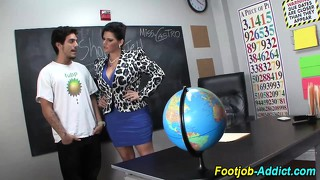 Femdom teacher sucks cock of student