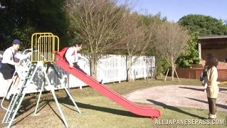Japanese mom's threesome on the playground