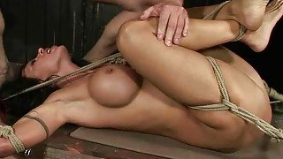 Busty bitch gets tied up and punished