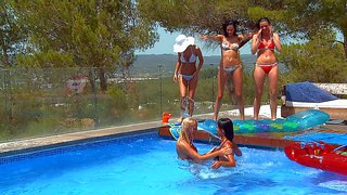 Adria, leo, lily, megana, and mia are hot blooded lesbian teen girls. they remove their bikinis in the pool. they kiss passionately and touch each others smoking hot wet bodies in the sun.