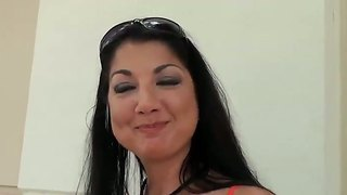 Brunette milf with large natural boobs pick uped and invited to visit my home