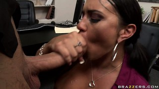 Busty brunette hottie goes down on her boss's cock and gives nice head