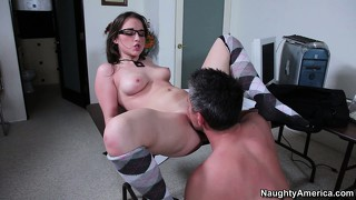 Geeky brunette tiffany paige fucks better then most sophisticated porn actresses
