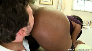 Interracial sex in the office where she gets ass licked and fucked