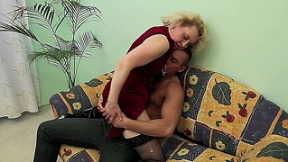 Mature blonde babe enjoys getting fucked by her younger lover