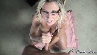 She licks his tip and jerks him off while having a smoke and a load in pov