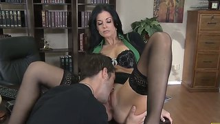 Hot teacher india summer lets horny hunk to touch and lick her tight mature pussy
