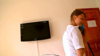 Shy masseuse seduction her boss with a long white dick.