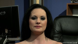 Brunette office gals are interviewed at work about some sexy things