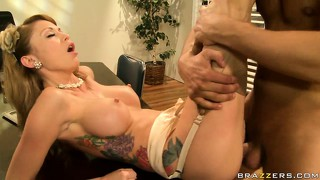 Busty office beauty in vintage stockings gets drilled like the whore she is
