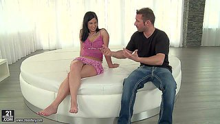 Lexy little is a dark haired teen cutie with sexy legs and feet. she shows off her nice bare feet and then gives footjob to her lucky fuck buddy. watch tender girl give pleasure.