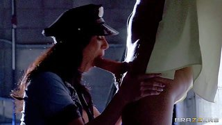 Bootylicious brunette cop kendra lust with bog firm hooters in arousing uniform has her eye on bill bailey. she gives him amazing blowjob and makes him lick her delicious ass.