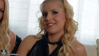 Long haired blonde babes brandy smile and danielle maye with perfect bodies in black dresses and high heels have lot of fun during interview filmed in close up