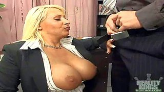 Smoking hot blonde business bombshell candy manson with gigantic fake balloons and bouncing ass in uniform gets licked by randy college and takes on his cock in the office