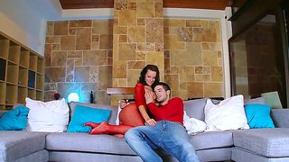 Lusty and horny brunette in red body stocking cindy dollar enjoys in giving head on couch