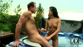 The outdoor hot tub is a great place to take your chick for a blowjob