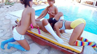 Adria, dakota, mia and romea are four teenage girls that love outdoor fun and group lesbian sex. they bare it all and tongue fuck each others slits in the sun. watch sweet lesbians do it with desire.