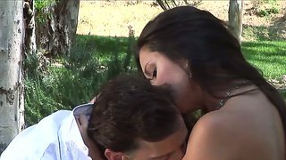 Tony de sergio gets horny brunette stephanie swift out into the woods where he bangs her cunt